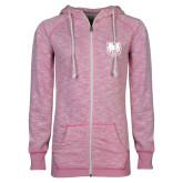 ENZA Ladies Hot Pink Marled Full Zip Hoodie-UNC Bear Logo
