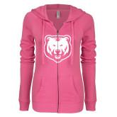 ENZA Ladies Hot Pink Light Weight Fleece Full Zip Hoodie-UNC Bear Logo
