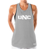 Ladies Under Armour Grey Pinhole Tank-UNC