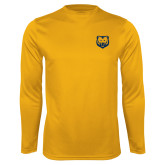 Performance Gold Longsleeve Shirt-UNC Bear Logo