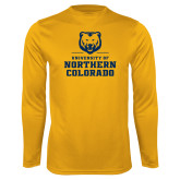 Performance Gold Longsleeve Shirt-Northern Colorado Stacked Logo