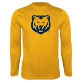 Performance Gold Longsleeve Shirt-UNC Bear Logo
