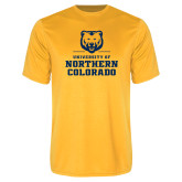 Performance Gold Tee-Northern Colorado Stacked Logo