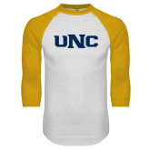 White/Gold Raglan Baseball T Shirt-UNC