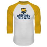 White/Gold Raglan Baseball T Shirt-Northern Colorado Stacked Logo