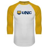 White/Gold Raglan Baseball T Shirt-UNC Bears