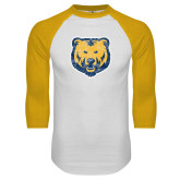White/Gold Raglan Baseball T Shirt-Bear Mascot Distressed