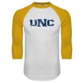 White/Gold Raglan Baseball T Shirt-UNC Distressed
