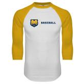 White/Gold Raglan Baseball T Shirt-Baseball