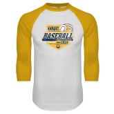 White/Gold Raglan Baseball T Shirt-Bears Baseball