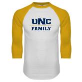 White/Gold Raglan Baseball T Shirt-Family