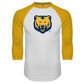 White/Gold Raglan Baseball T Shirt-UNC Bear Logo