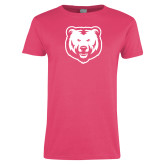 Ladies Fuchsia T Shirt-UNC Bear Logo