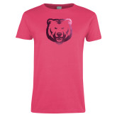 Ladies Fuchsia T Shirt-UNC Bear Logo Foil