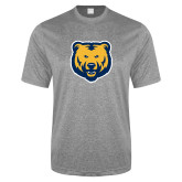 Performance Grey Heather Contender Tee-UNC Bear Logo