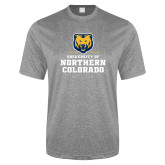Performance Grey Heather Contender Tee-Northern Colorado Stacked Logo