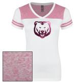 Ladies White/Heathered Pink Juniors Varsity V Neck Tee-UNC Bear Logo Foil