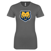 Next Level Ladies SoftStyle Junior Fitted Charcoal Tee-UNC Bear Logo