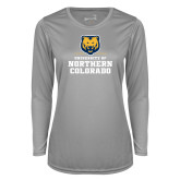 Ladies Syntrel Performance Platinum Longsleeve Shirt-Northern Colorado Stacked Logo