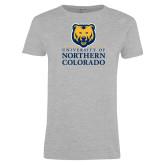 Ladies Grey T Shirt-University of Northern Colorado Academic Stacked