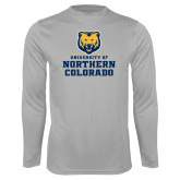 Performance Platinum Longsleeve Shirt-Northern Colorado Stacked Logo