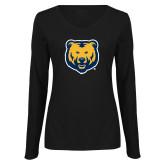 Ladies Black Long Sleeve V Neck Tee-UNC Bear Logo