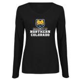 Ladies Black Long Sleeve V Neck Tee-Northern Colorado Stacked Logo