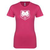 Next Level Ladies SoftStyle Junior Fitted Fuchsia Tee-UNC Bear Logo