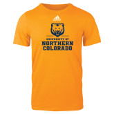 Adidas Gold Logo T Shirt-Northern Colorado Stacked Logo