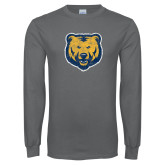 Charcoal Long Sleeve T Shirt-Bear Mascot Distressed