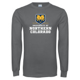 Charcoal Long Sleeve T Shirt-Northern Colorado Stacked Logo