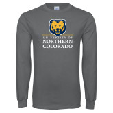 Charcoal Long Sleeve T Shirt-University of Northern Colorado Academic Stacked