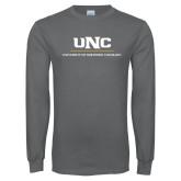Charcoal Long Sleeve T Shirt-UNC Academic Block Verticle