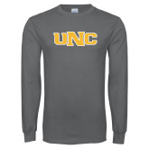 Charcoal Long Sleeve T Shirt-UNC Stroked Logo