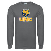 Charcoal Long Sleeve T Shirt-Interlocked UNC and Bear