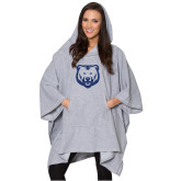 Ladies Grey Sherpa Poncho-H Dark Blue Glitter