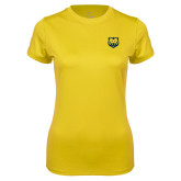 Ladies Syntrel Performance Gold Tee-UNC Bear Logo