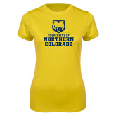 Ladies Syntrel Performance Gold Tee-Northern Colorado Stacked Logo