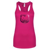 Next Level Ladies Raspberry Ideal Racerback Tank-UNC Bear Logo Foil