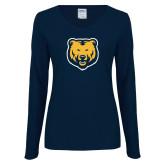 Ladies Navy Long Sleeve V Neck Tee-UNC Bear Logo