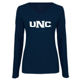 Ladies Navy Long Sleeve V Neck Tee-UNC