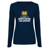 Ladies Navy Long Sleeve V Neck Tee-Northern Colorado Stacked Logo