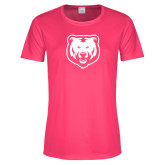 Ladies Performance Hot Pink Tee-UNC Bear Logo