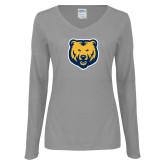 Ladies Grey Long Sleeve V Neck Tee-UNC Bear Logo