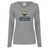 Ladies Grey Long Sleeve V Neck Tee-Northern Colorado Stacked Logo