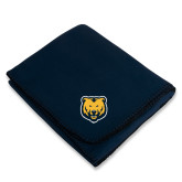 Navy Arctic Fleece Blanket-UNC Bear Logo