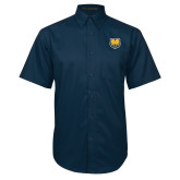 Navy Twill Button Down Short Sleeve-UNC Bear Logo