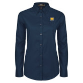 Ladies Navy Twill Button Down Long Sleeve-UNC Bear Logo