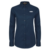 Ladies Navy Twill Button Down Long Sleeve-UNC