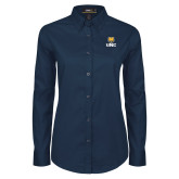 Ladies Navy Twill Button Down Long Sleeve-UNC Bear Stacked